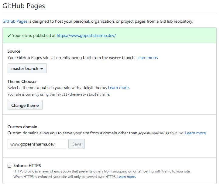 GitHub Pages Configuration